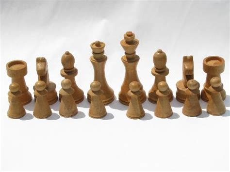 Chess Set Pieces old hand crafted turned wood chess set game pieces carved