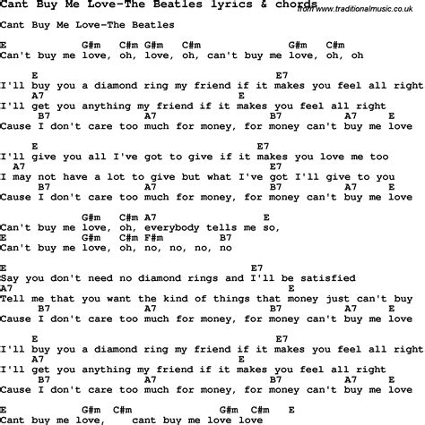 printable beatles lyrics love song lyrics for cant buy me love the beatles with chords