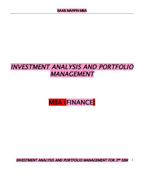 Mba Project On Investment Analysis by Investment Analysis And Portfolio Management