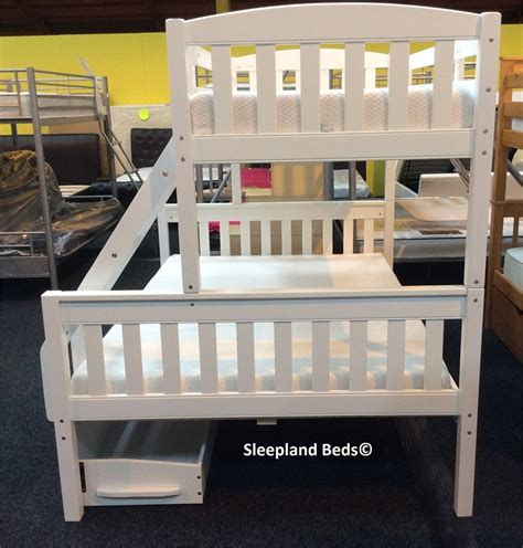 Cola White Wooden Triple Sleeper Bunk Bed With Two Storage Storage Bunk Beds For Sale