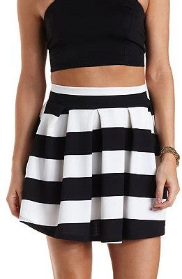 russe striped pleated skater skirt where to
