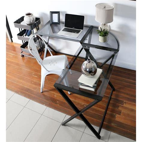 we furniture elite soreno glass corner computer desk black amazon com we furniture elite soreno glass corner