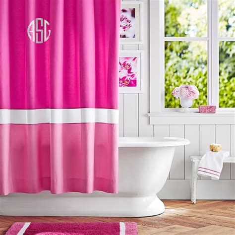 Bright Pink Curtains Color Block Shower Curtain Pink Magenta Bright Pink Pbteen
