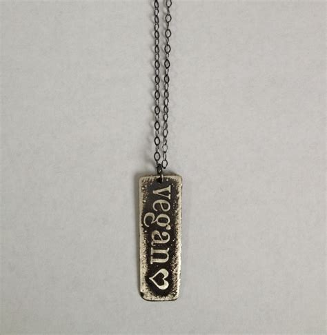 sterling silver etched vegan necklace design specimen