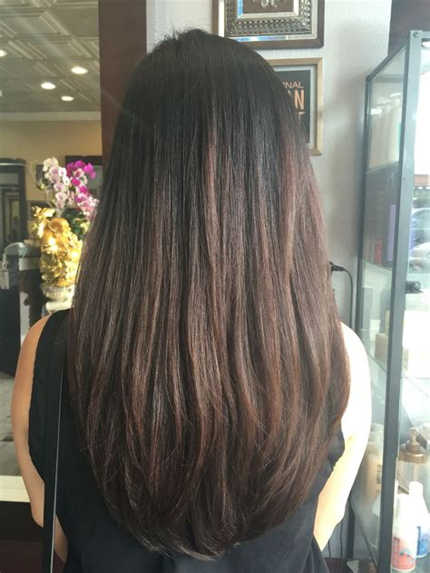 medium length v cut with layers long layered hair with u shape my stuff pinterest