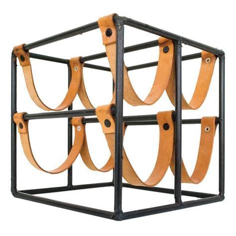leather wine rack leather strap wine rack by arthur umanoff at 1stdibs