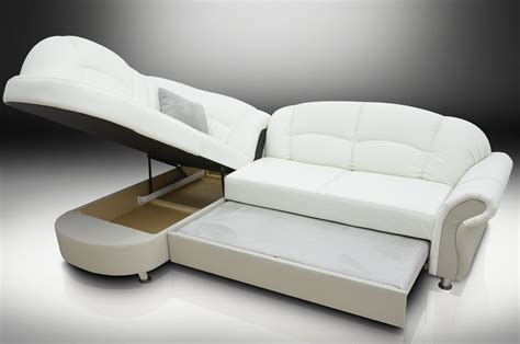 White Leather Corner Sofa Bed Romero Corner Sofa Bed Bonded Leather White Silver Trim