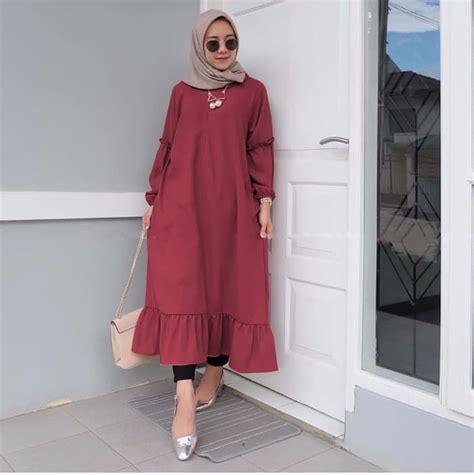 Tunik Sleting baju atasan muslim wanita tunik polos model terbaru