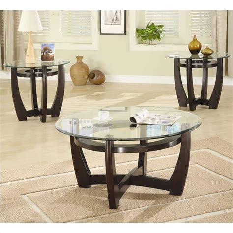 Glass Living Room Table Sets Coaster 3 Contemporary Glass Top Occasional Table Set In Cappuccino 700295