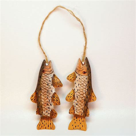 Handmade Country Ornaments - vtg fish handmade ornament painted wood