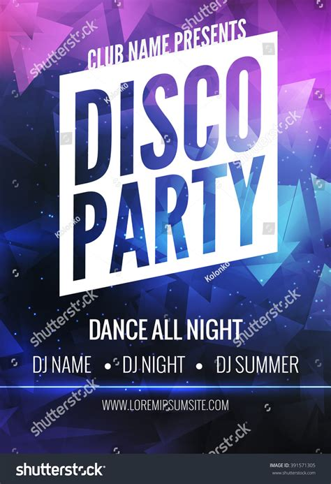 template flyer disco disco party poster template night dance stock vector