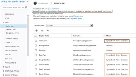 Office 365 Portal Status Setup Dirsync Between Office 365 And Active Directory