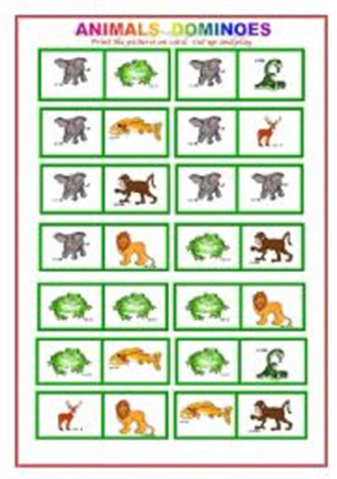 printable animal dominoes english teaching worksheets animals game