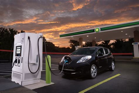 electric vehicles charging stations nissan partners with oil company for electric car fast
