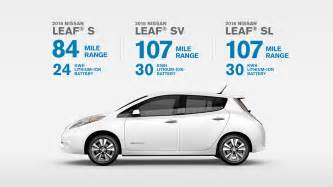 Electric Vehicles Driving Range 2016 Nissan Leaf Electric Car 100 Electric 100
