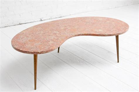 Pink Coffee Table Rene Brancusi Pink Marble Brass Leg Kidney Mid Century Coffee Table At 1stdibs