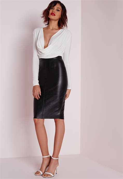Skirt Black 1 missguided faux leather seam detail midi skirt black in