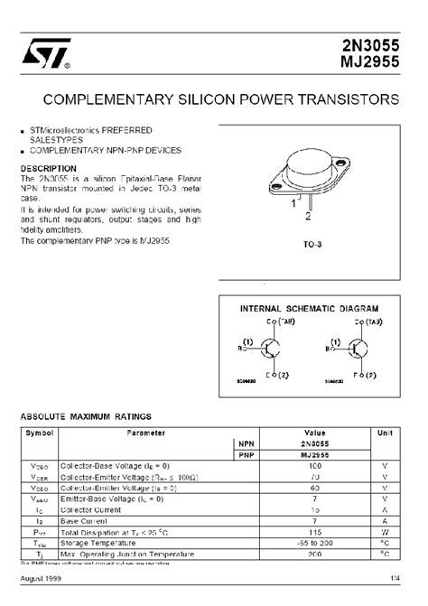 transistor 2n3055 toshiba datasheet 2n3055 complementary silicon power darlington transistors 2n3055