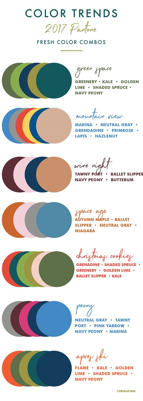 trends color palettes 2017 fall 2017 pantone colors chart erika firm