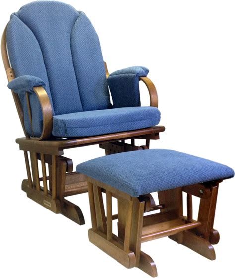 Glider Rocker With Ottoman Shermag Glider Rocker And Ottoman Corduroy Blue Ebay