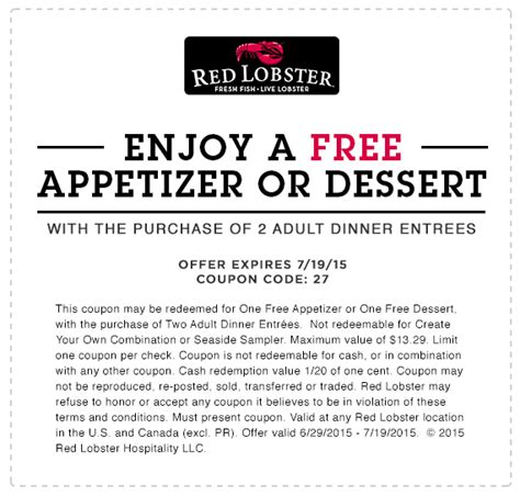 printable restaurant coupons red lobster free dessert red lobster july 2015 your restaurant