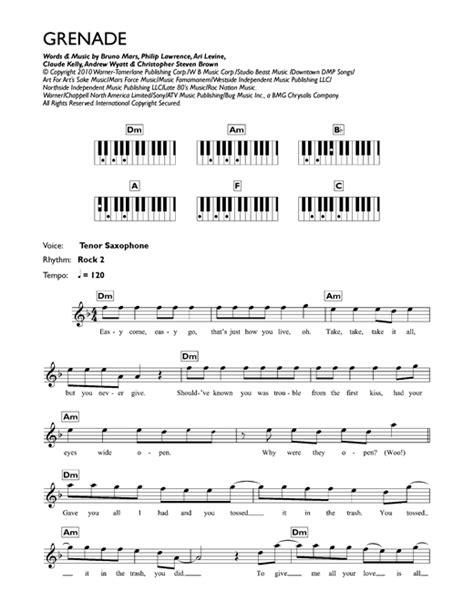 tutorial piano grenade grenade sheet music by bruno mars keyboard 118181