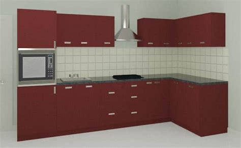 L Shaped Kitchen Design maroon l shaped modular kitchen