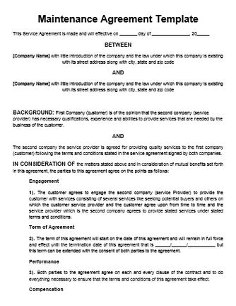 Free Printable It Service Agreement Template Form Generic Equipment Maintenance Contract Template