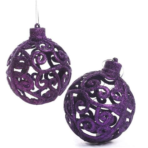 purple glittered mesh scroll ball ornaments christmas