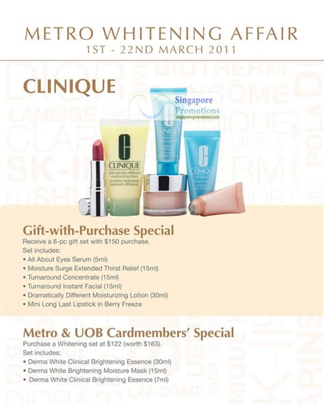 Clinique Whitening clinique 187 metro skin whitening products special offers