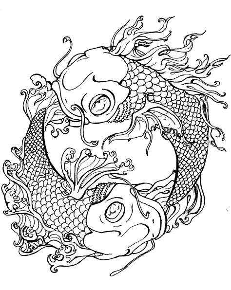 tattoo coloring books japanese koi coloring pages and print for free