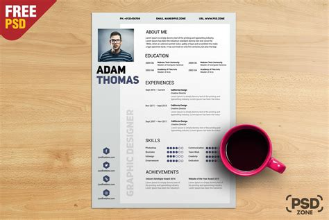 free graphic design resume template psd free resume cv template psd psd