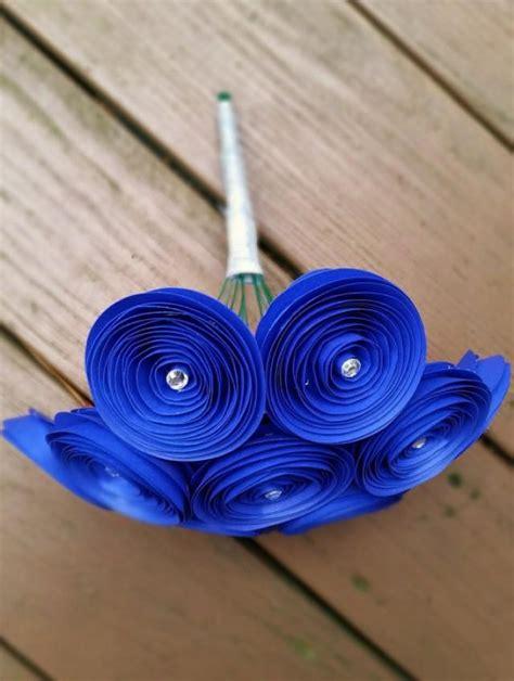 Handmade Bouquet Flowers - paper flower bouquet 12 royal blue yellow paper flowers
