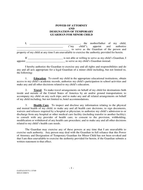 Temporary Power Of Attorney Template by Power Of Attorney For Minor Child Form 7 Free Templates