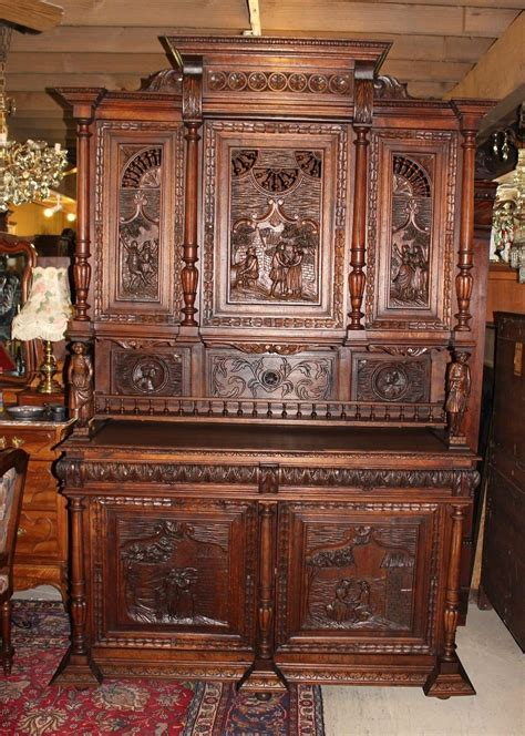 exquisite french antique carved oak brittany bar buffet