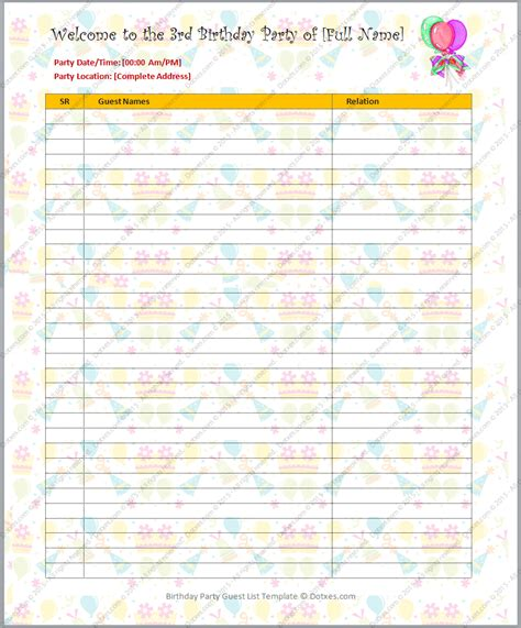 baby wish list template birthday guest list template dotxes