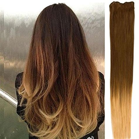 obre dye dip golden medium length hair 18 clip in dip dye ombre remy human hair extensions light