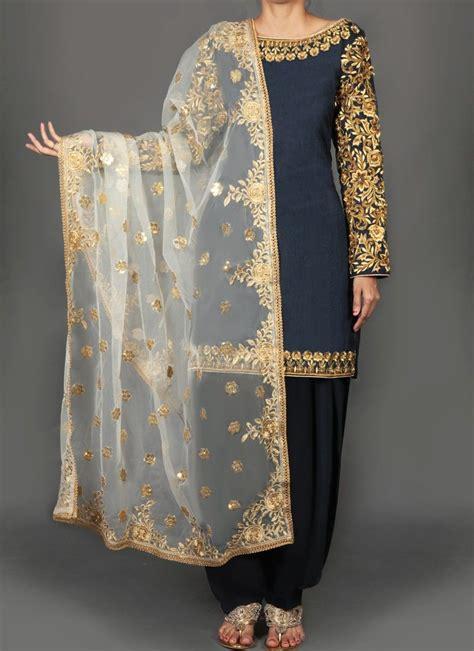 navy blue  gold floral embroidered punjabi suit