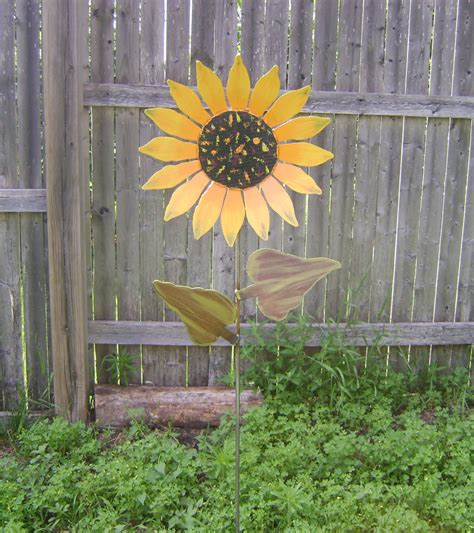 metal flower garden stakes sunflower on stake metal garden painted by