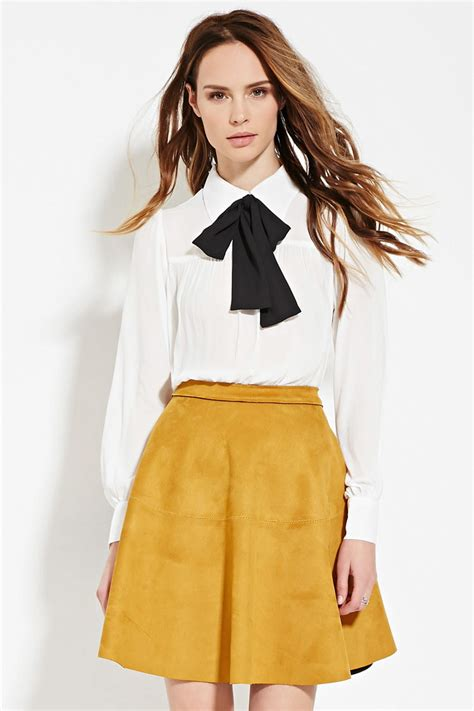 Blouse Rumbai Bow Black lyst forever 21 contemporary bow front blouse in white