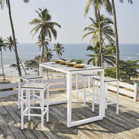 sgabelli in alluminio tavolo da giardino alto con 4 sgabelli in alluminio 128
