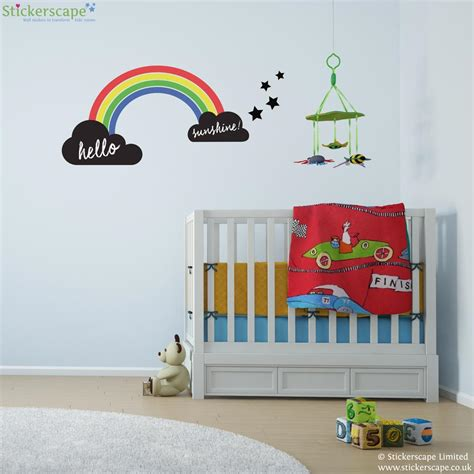 rainbow wall stickers uk rainbow and chalkboard clouds wall sticker set stickerscape uk