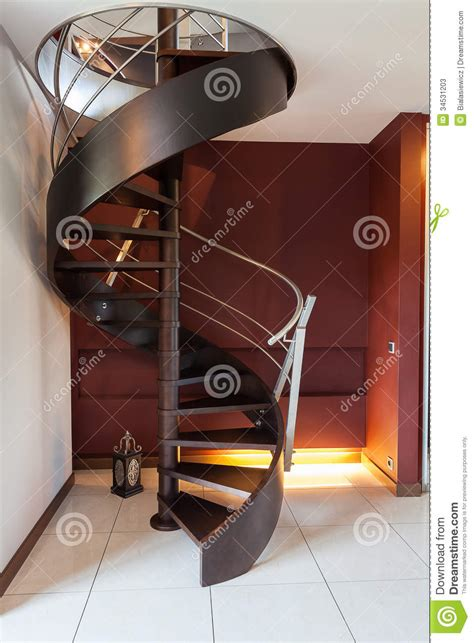 Staircase Design Inside Home Spiral Staircase In A Modern Luxury House Stock Photos