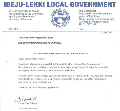 Acknowledgement Letter For Government Acknowledgement 187 Zac Okunoren Hc Foundation