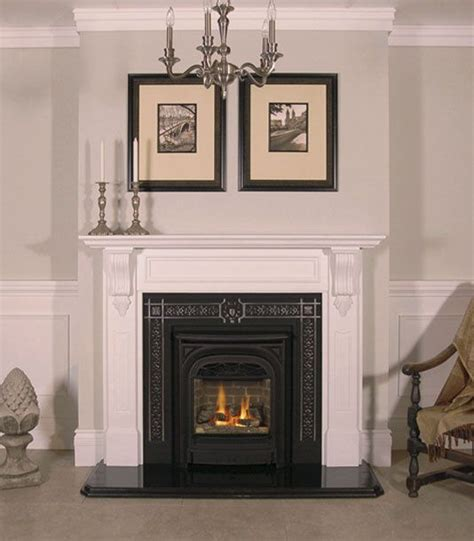 gas fireplace with cheladon marble mantel from
