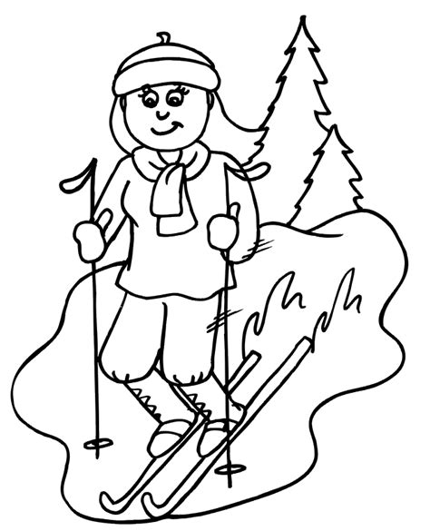 skiing coloring page coloring home