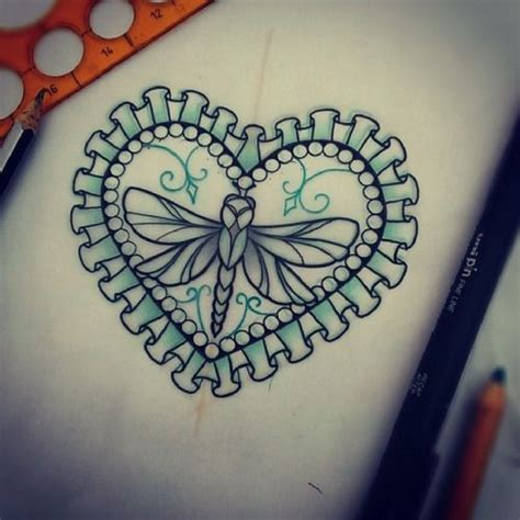 traditional heart tattoo designs dragonfly in lace decorated frame