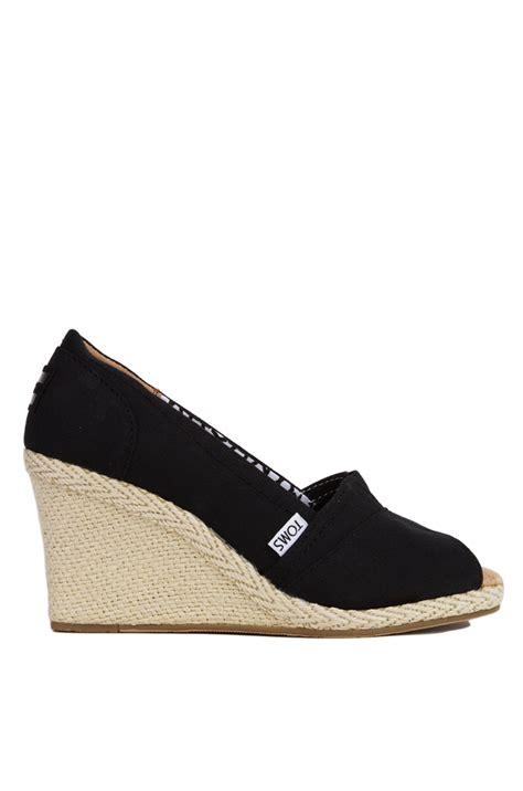toms black canvas peep toe wedge sandals in black lyst