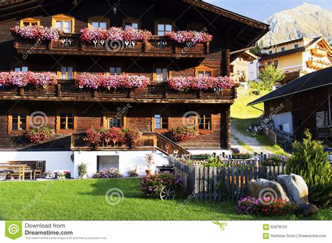traditional austrian tirol house and garden going traditional alpine house stock image image of garden