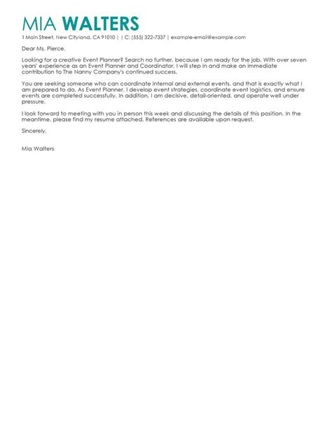 Sle Letter For Organising An Event Leading Professional Event Planner Cover Letter Exles Resources Myperfectcoverletter